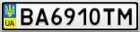 Номерной знак - BA6910TM