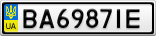 Номерной знак - BA6987IE