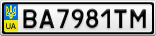 Номерной знак - BA7981TM