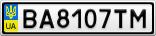 Номерной знак - BA8107TM