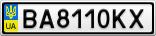 Номерной знак - BA8110KX