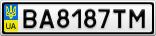 Номерной знак - BA8187TM