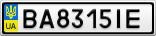 Номерной знак - BA8315IE
