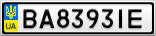 Номерной знак - BA8393IE