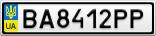 Номерной знак - BA8412PP