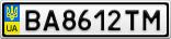 Номерной знак - BA8612TM