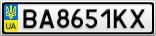 Номерной знак - BA8651KX