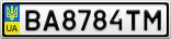 Номерной знак - BA8784TM