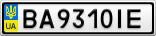 Номерной знак - BA9310IE