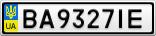 Номерной знак - BA9327IE