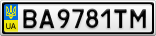 Номерной знак - BA9781TM