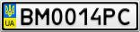 Номерной знак - BM0014PC