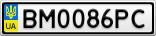 Номерной знак - BM0086PC