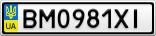 Номерной знак - BM0981XI