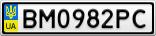 Номерной знак - BM0982PC