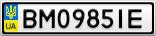 Номерной знак - BM0985IE