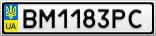 Номерной знак - BM1183PC