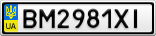 Номерной знак - BM2981XI