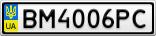 Номерной знак - BM4006PC