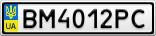 Номерной знак - BM4012PC