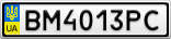 Номерной знак - BM4013PC