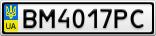 Номерной знак - BM4017PC