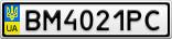 Номерной знак - BM4021PC