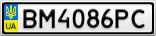 Номерной знак - BM4086PC