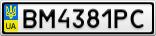 Номерной знак - BM4381PC