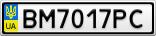 Номерной знак - BM7017PC