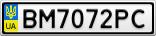 Номерной знак - BM7072PC