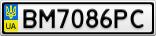 Номерной знак - BM7086PC