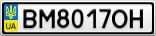 Номерной знак - BM8017OH