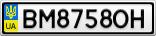 Номерной знак - BM8758OH