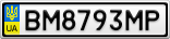 Номерной знак - BM8793MP