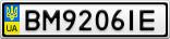 Номерной знак - BM9206IE