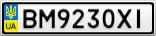 Номерной знак - BM9230XI