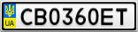 Номерной знак - CB0360ET