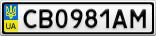 Номерной знак - CB0981AM